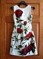 $2595 Dolce & Gabbana AUTH Red Rose Crisscross Back Straps Brocade Mini Dress 36