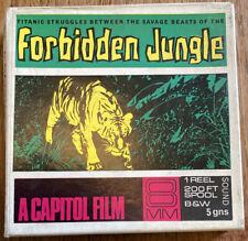 "Vintage 8mm Cine Reel ""Forbidden Jungle"" 1950 Action Film 200ft B&W with Sound"