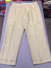 Men's Brooks Brothers 1818 Linen Pants Tag 36 Actual 34x28 Cuffed Made In USA