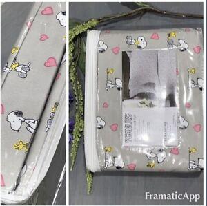 Peanuts Snoopy Love Valentines Berkshire Pink Hearts Grey Sheet Set ~ Queen 4 Pc