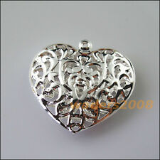 3 New Charms Silver Plated Big Hollow Flower Heart Pendants 38x40mm