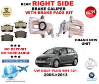 FOR VW GOLF PLUS 5M1 521 2005->2013 REAR RIGHT BRAKE CALIPER WITH BRAKE PADS SET