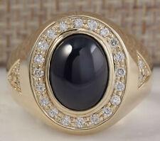 MENS 5.90 Carat Natural Sapphire 14K Yellow Gold Diamond Ring