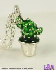 NEW Silver Tone Enamel CACTUS Fashion Pendant Necklace Jewelry | LBA | PLANTS