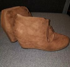 River Island Tan Suede Lace Up Wedges Size 7 Ankle Boots Womens Shoes heels