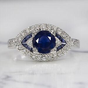 1.5ctw SAPPHIRE DIAMOND 18k WHITE GOLD RING ROYAL BLUE VINTAGE ART DECO STYLE