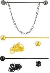 Faux Diamond Stone Gem Encrusted Collar Pin Steel 6CM Tie Bar Stay Chain