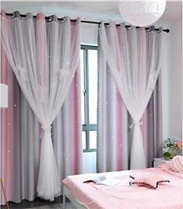 Yancorp Curtains for Girls Bedroom Kids Curtain Baby Nursery Hollow-Out Star ...