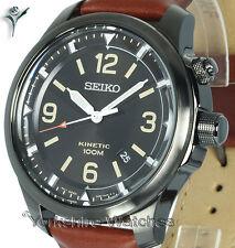 New Seiko Kinetic Charcoal Dial Negro Y Funda De Cuero Hebilla Correa ska691p1