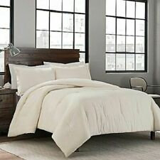 Garment Washed Solid Twin/Twin Xl Comforter Set in Cream