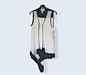 Joseph Ribkoff Ladies Sleeveless Tunic Top Black White Size UK 8 New Tag Defect