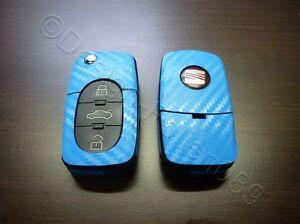 Carbon H Blau Folie Dekor Schlüssel Seat leon Golf Passat VW Bora Polo Skoda