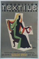 """""""EXPOSITION TEXTILE INTERNATIONALE LILLE 1951"""" Affiche orig. entoil. Paul COLIN"""