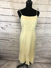 Donna Morgan Yellow Fitted Spaghetti Strap Party Graduation Dress size 4 Linen