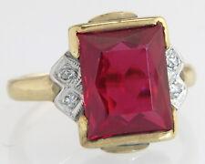Vintage Estate 10K Yellow Gold 3.34ct Genuine Diamond & Spinel Art Deco Ring