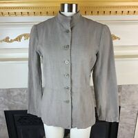 EILEEN FSHER XS Gray Mandarin Button Down Collared Cotton Linen Pocketed Jacket