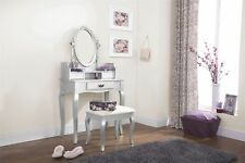 LUMBERTON DRESSING TABLE DESK SET 3 DRAWERS MAKEUP & PADDED SEAT STOOL SILVER