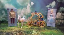 "Disney Princess Cinderella Horse and Carriage 2014 Mattel 2 NEW 12"" Dolls Prince"