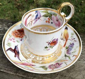 Fine Derby c1825 Can & Saucer Birds, Fruit Flowers & Butterfly English Porcelain