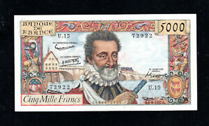 Billet 5000 Francs Henry IV 06/06/57 TTB+ Fay 49-02