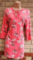 BOMARCHE PINK FLORAL LACE UP LONG SLEEVE SUMMER LONG TOP TUNIC CAMI DRESS 10 S