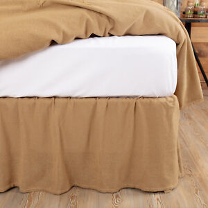 VHC Brands Farmhouse Queen Bed Skirt Tan Gathered Burlap Natural Bedroom Decor