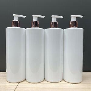 White Black PET Plastic Pump Bottle Mrs Hinch 500ml Dispenser ⭐Rose Gold Lids⭐