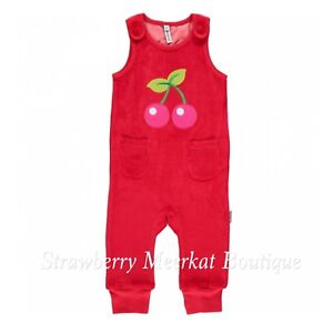 New AW17 Maxomorra Red Cherry Velour Playsuit Dungarees 62 LEFT