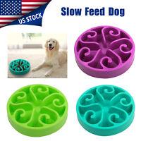 "Non Slip Pet Dog Puppy Slow Down Eating Feeding Bowl Anti Choke Dish Food 7.8"""