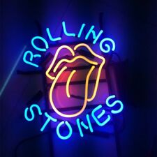 """17x14"""" ROLLING STONES REAL GLASS NEON LIGHT BEER BAR PUB CLUB STORE SIGN Or"""