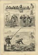 1879 salmon fishing in Ireland Watching from galway Bridge Water Bailiff