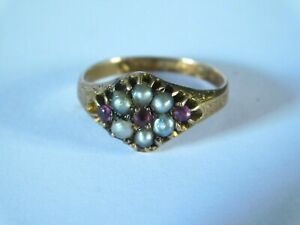 ANTIQUE 14ct GOLD PEARL &  RUBY RING - PATTERNED SHOULDERS
