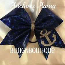 CHEER BOW - Blue Shattered Glass W/Silver Anchor - Anchors Away