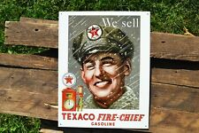 Texaco Fire Chief Gasoline Tin Metal Sign - Gas Pump Attendant - Motor Oil