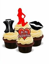 Novedad Valentine naughty/sexy Mix 12 Stand Up Comestible Cake Toppers Divertidos Pastelillos