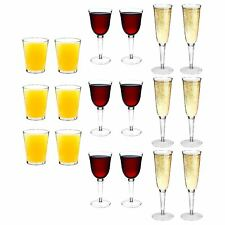 Plastic Tumblers Hi balls Wine Glasses Champagne Flutes Strong Outdoor x18