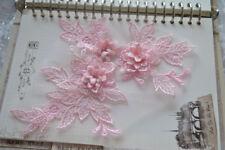3D Flower Lace Applique Sewing Bridal Wedding Trims Motif Embroidery 19cm*15cm