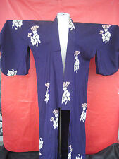 Vtg Blue Kimono with White Designs may be a warrior butterfly sleeves