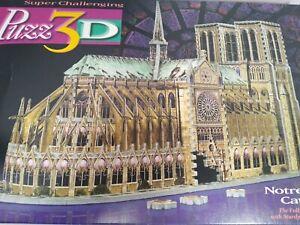 Notre Dame 3D Jigsaw Puzzle Building Milton Bradley COMPLETE