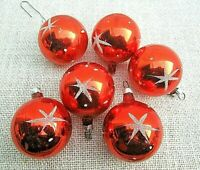 * 4 bunte christbaum kugeln mit aufgeschneitem sternen dekor um 1950