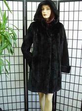 NEW REFURBISH BLACK CANADIAN SHEARED MINK FUR COAT JACKET HOOD WOMAN WOMEN SZALL