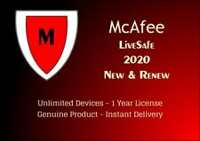McAfee LiveSafe 2020 Unlimited Devices 12 Months Protection - Instant Delivery