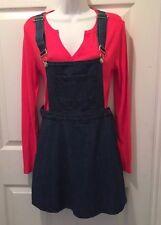 New Summer Blue Denim  Jumper Dress Skirt Juniors Love by Chesley sz M 8 10 NWT