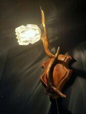Vintage Antler Wall Light Rewired Origional Glass Horns Taxidermy Bones Scandi.