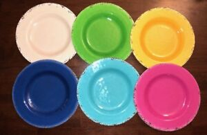 Ashland Fiesta Dessert Plates New Pink Blue Yellow You Pick Set Of 2 Plastic