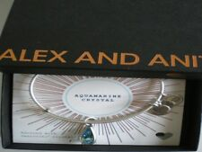Alex and Ani March Aquamarine Bangle Bracelet Teardrop Raf Silver NWTBC