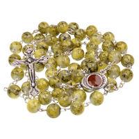 """Catholic Faux Green Stone Rosary Beads Crucifix & Holy Soil Jereusalem 22.5"""""""