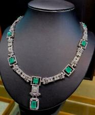 Art Deco 23.68TCW Colombian Emerald With Clear CZ Beautiful Women Fine Necklace