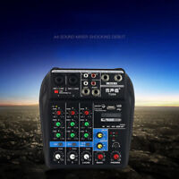 Mixer Console with Bluetooth Record 48V Phantom Power 4 Channel Audio Mixer USB&