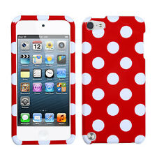 Red White Dots Faceplate Apple ipod Touch 5 5G Protector Hard Case Snap Cover